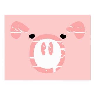 Cute Pig Face illusion. Postcard