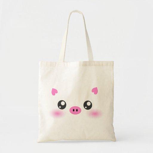 Cute Pig Face - kawaii minimalism Canvas Bag