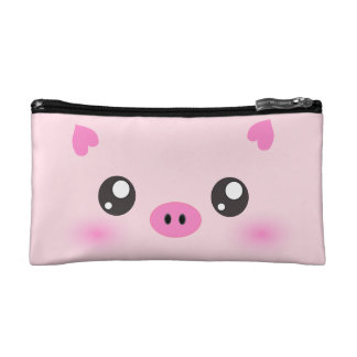 Cute Pig Face - kawaii minimalism Cosmetics Bags