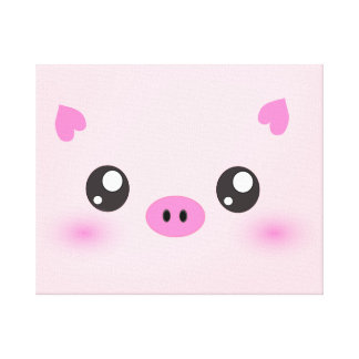 Cute Pig Face - kawaii minimalism Stretched Canvas Print