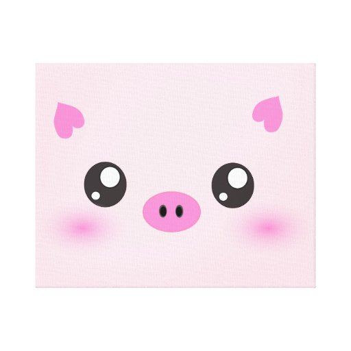 Cute Pig Face - kawaii minimalism Stretched Canvas Print