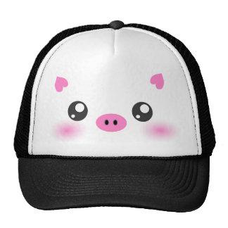 Cute Pig Face - kawaii minimalism Cap