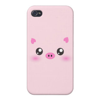 Cute Pig Face - kawaii minimalism Cover For iPhone 4