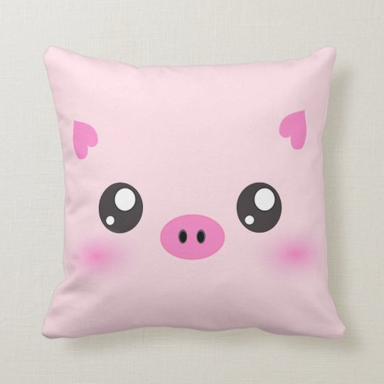 Cute Pig Face - kawaii minimalism Cushion