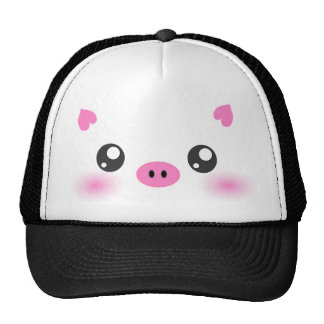 Cute Pig Face - kawaii minimalism Hat
