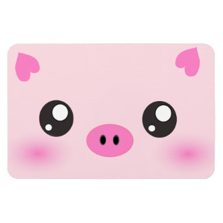 Cute Pig Face - kawaii minimalism Magnets