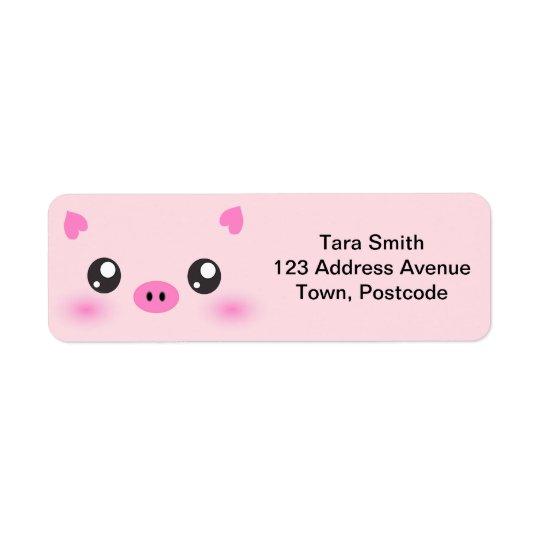 Cute Pig Face - kawaii minimalism Return Address Label