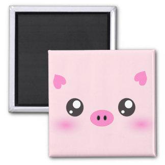 Cute Pig Face - kawaii minimalism Square Magnet