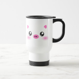 Cute Pig Face - kawaii minimalism Stainless Steel Travel Mug