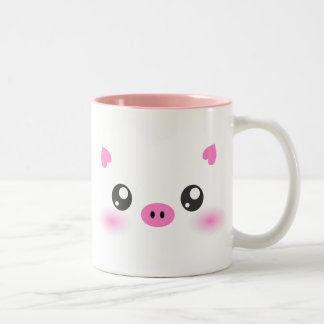 Cute Pig Face - kawaii minimalism Two-Tone Mug