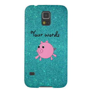 Cute pig faux turquoise glitter galaxy s5 cover