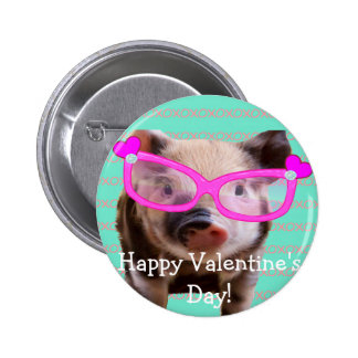 Cute Pig - Happy Valentine s Day Pinback Buttons