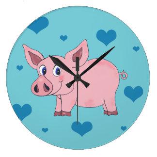 Cute Pig Hearts Clock