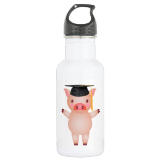 Cute Pig in Graduation Cap 532 Ml Water Bottle