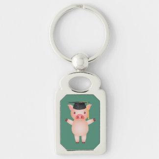 Cute Pig in Graduation Cap Silver-Colored Rectangular Metal Keychain