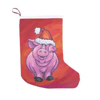 Cute Pig in Santa Hat on Red