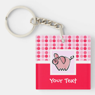 Cute Pig Double-Sided Square Acrylic Key Ring