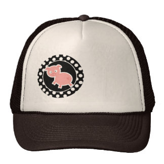 Cute Pig on Black and White Polka Dots Trucker Hat