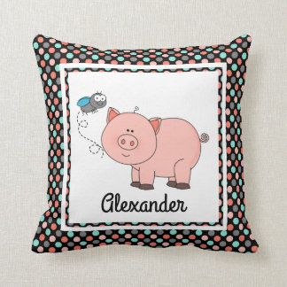 Cute pig on black w colours, personalise w Name Cushion