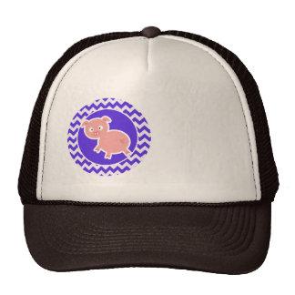 Cute Pig on Blue Violet Chevron Cap