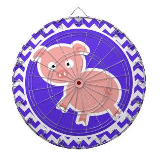 Cute Pig on Blue Violet Chevron Dartboards
