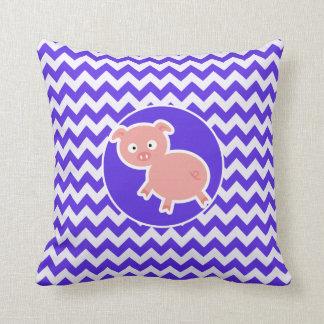 Cute Pig on Blue Violet Chevron Throw Cushions