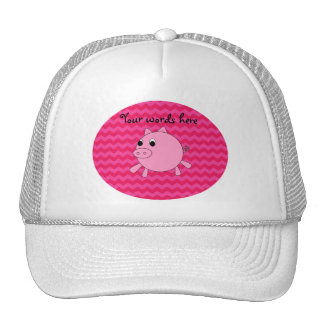 Cute pig pink chevrons trucker hat