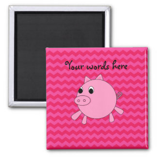 Cute pig pink chevrons magnet