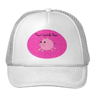 Cute pig pink stars mesh hats