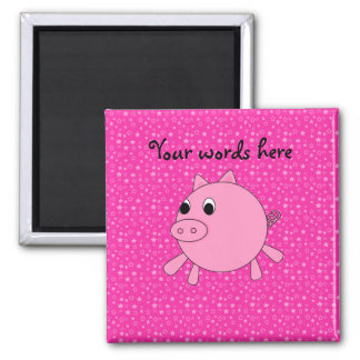 Cute pig pink stars magnet