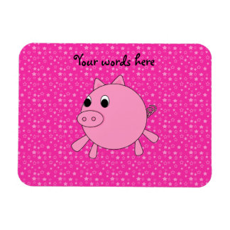 Cute pig pink stars rectangle magnets
