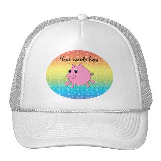 Cute pig rainbow hearts trucker hat