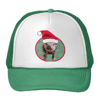 Cute Pig Santa - Teal and Red Trucker Hats