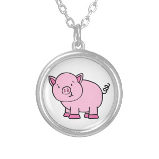 CUTE PIG SILVER PLATED NECKLACE