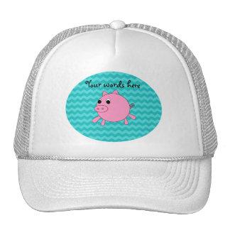 Cute pig turquoise chevrons trucker hat