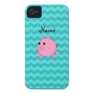 Cute pig turquoise chevrons iPhone 4 Case-Mate case