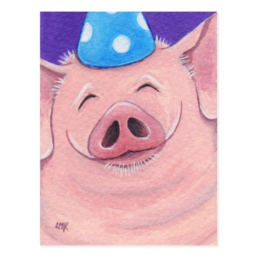 Cute Pig Wearing A Party Hat - Pig Art Postcard