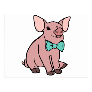 Cute Pig with a Bow Tie Postcard