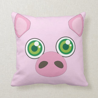Cute pig with green eyes Pink Pillow