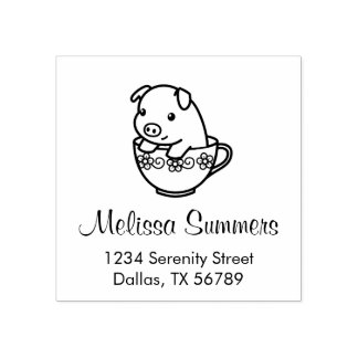Cute Piglet Pig in a Teacup Address Rubber Stamp