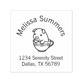 Cute Piglet Pig in a Teacup Address Self-inking Stamp