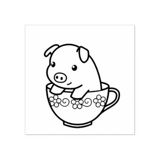 Cute Piglet Pig in a Teacup Rubber Stamp