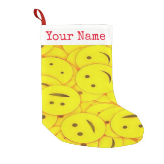 Cute Piles of Yellow Smiley Faces Add Your Name Small Christmas Stocking
