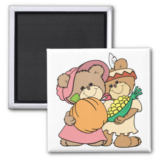 cute pilgrim and indian thanksgiving teddy bears fridge magnets