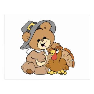 cute pilgrim teddy bear with turkey postcard
