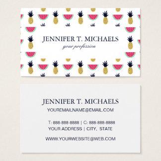 Cute Pineapple & Watermelon Doodle Pattern Business Card