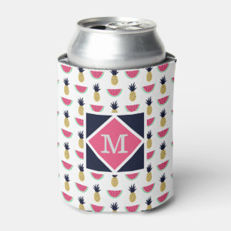 Cute Pineapple & Watermelon Doodle Pattern Can Cooler