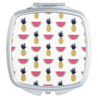 Cute Pineapple & Watermelon Doodle Pattern Compact Mirror