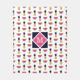 Cute Pineapple & Watermelon Doodle Pattern Fleece Blanket
