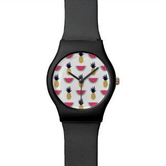 Cute Pineapple & Watermelon Doodle Pattern Watch